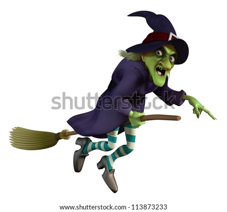 flying witch on a broom - stock photo