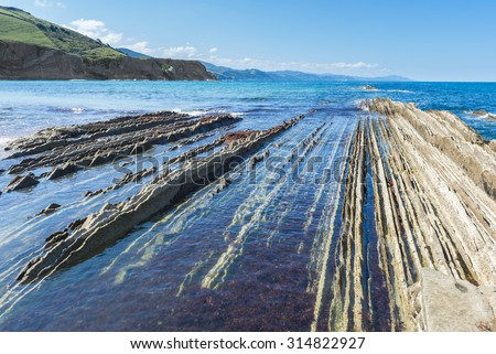 Flysch in Zumaia, Basque Country (Spain) - stock photo
