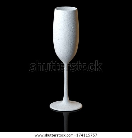 Flyute Glass For Champagne On Black Background - stock photo