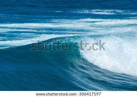 foamy ocean  wave breaking natural water background - stock photo