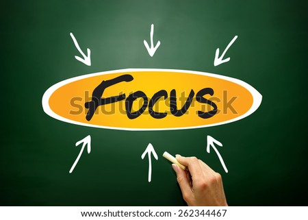 Focus arrows directions, business concept on blackboard - stock photo