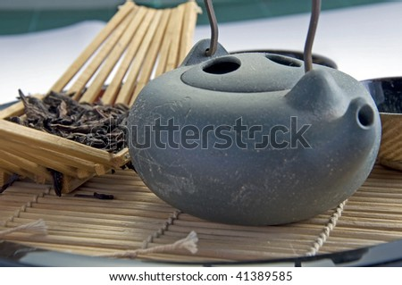 Focus at the top of chinese teapot - stock photo