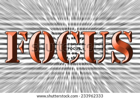 Focus - Chisel text Effect abstract concept - stock photo