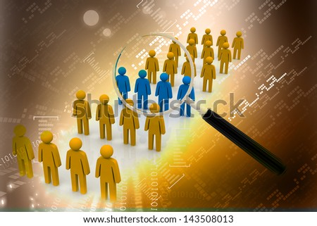 Focus Group. Magnifying glass. Abstract background - stock photo