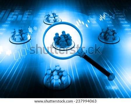 Focus Group. People with Magnifying glass on blue background  - stock photo