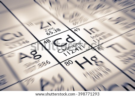 Focus on Cadmium Chemical Element from the Mendeleev Periodic Table - stock photo