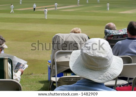 Focus on cricket fan - stock photo