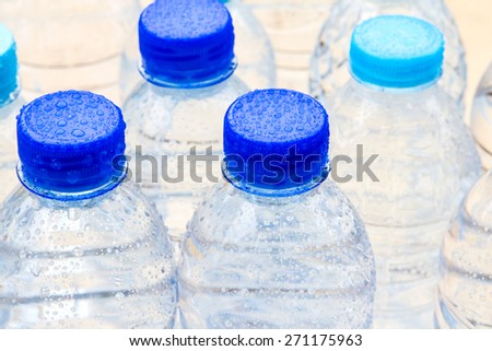 focus on plastic bottle cap the  fresh drink water - stock photo