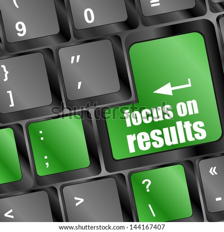 focus on results button on computer keyboard key, raster - stock photo