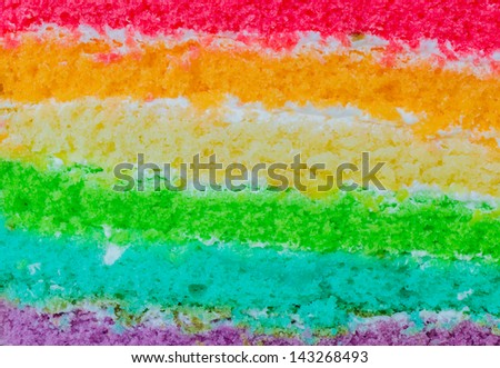 Focus on texture&layer of Rainbow cake - stock photo