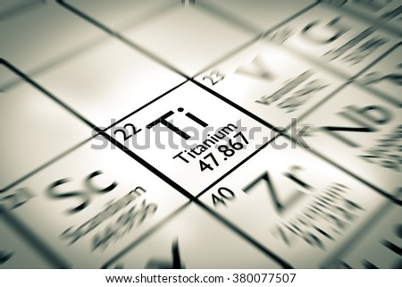 Focus on Titanium Chemical Element from the Mendeleev periodic table - stock photo