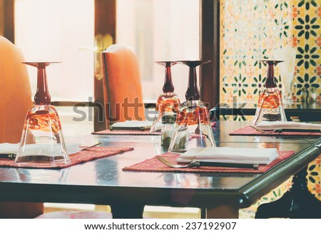 Focus Stack Image Of Luxury Table Settings In Restaurant With Flares Light : Vintage Filtered Process - stock photo