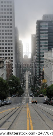 fog and cable railroad, San Francisco, California - stock photo