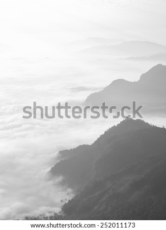 fog and cloud mountain valley sunrise landscape black and white, Pu Chi Fa - Chiangrai Thailand - stock photo