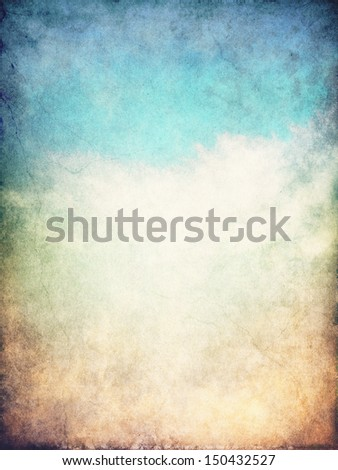 Fog and clouds on a blue to brown textured gradient background.  Image displays a distinct paper grain and texture at 100 percent. - stock photo