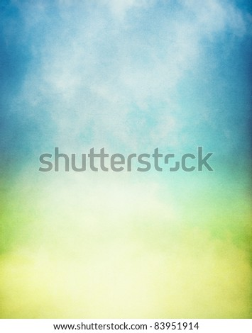 Fog and mist rising from a glowing pool of yellow and green light.  Image has a textured paper overlay and grain pattern visible at 100%. - stock photo