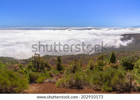 Fog bank down the hill near Teide volcano in Tenerife. - stock photo