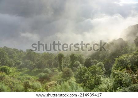 Fog covering the hills of nagarkot - stock photo