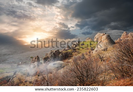Fog in the Valley of Ghosts at sunrise - stock photo