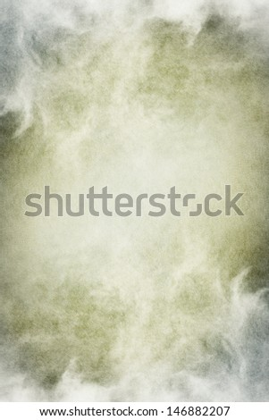 Fog, mist, and clouds with subtle gray and green tones.  Image has significant paper texture and grain patterns visible at 100 percent. - stock photo