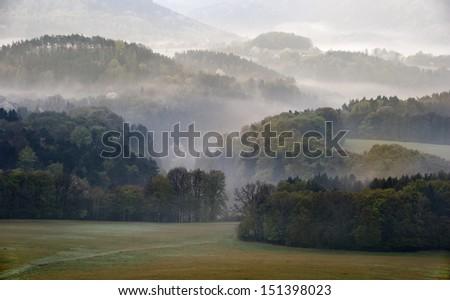 fog morning czech - stock photo