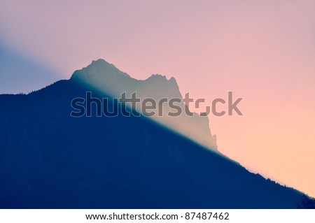 Fog mountain scenery, morning sunrise. - stock photo