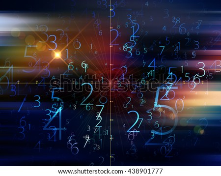 Fog of Numbers series. Arrangement of Digits and lights on the subject of math, science, technology and education - stock photo