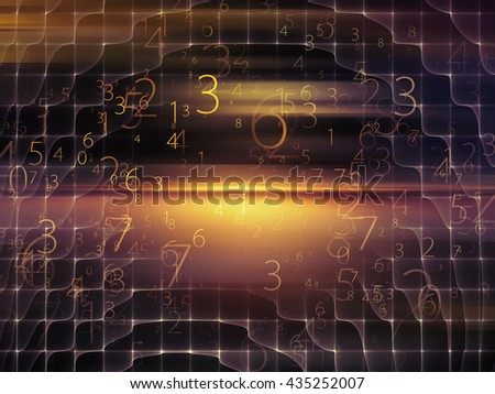 Fog of Numbers series. Composition of Digits and lights on the subject of math, science, technology and education - stock photo