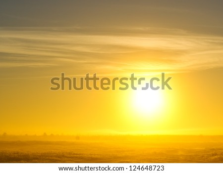 fog on the field in the morning at sunrice - stock photo