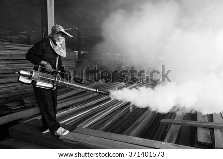 Fogging mosquito to prevent of dengue fever and  zika virus - stock photo