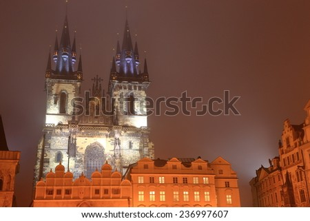 Foggy autumn night and the Church of Our Lady before Tyn in Prague Old Town, Czech Republic - stock photo