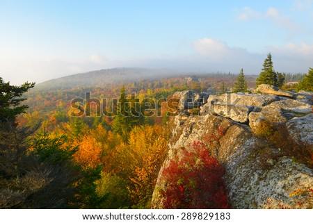 Foggy, Autumn Sunrise at Bear Rocks, WV - stock photo