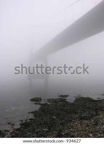 Foggy Bridge - stock photo