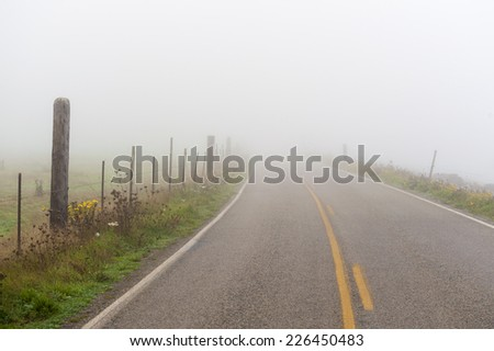 Foggy Country Road. Fog creates a feel of emptiness as it leads to seemingly nowhere. - stock photo
