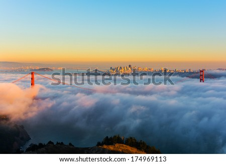 Foggy day in San Francisco California at sunset - stock photo