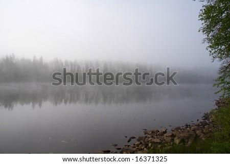 foggy landscape - stock photo