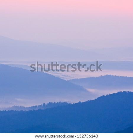 foggy landscape in Bieszczady Mountains, Poland, Europe - stock photo
