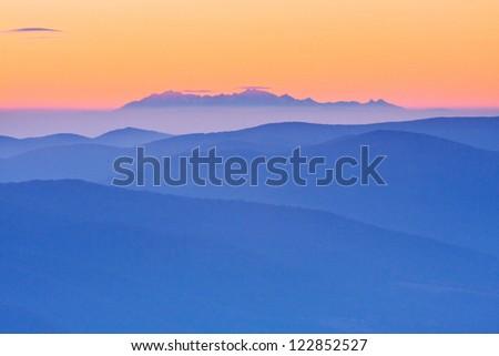 foggy landscape, Tatra Mountains, Poland - stock photo