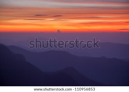 foggy lanscape, Western Ghats, India - stock photo