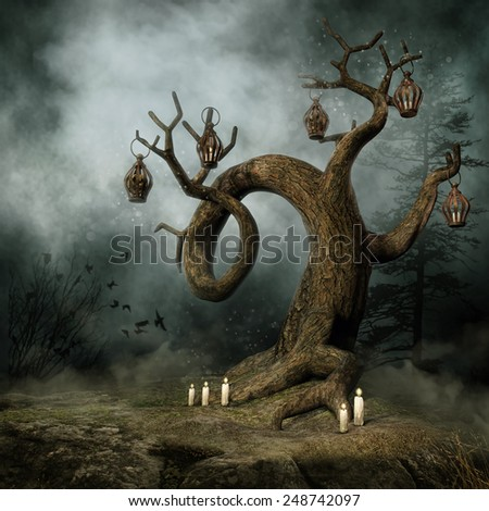 Foggy meadow with a tree with candles and hanging lanterns - stock photo