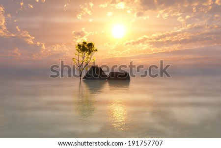 Foggy Morning after the Flood. Climate change and global warming cause worldwide flooding  - stock photo