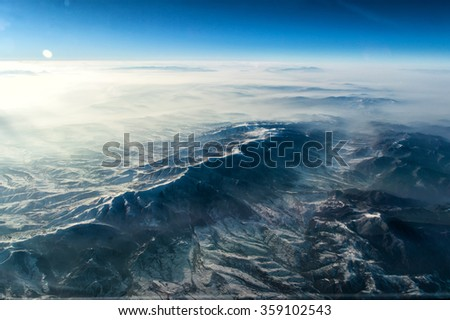 Foggy morning in the Himalayan Mountains - stock photo