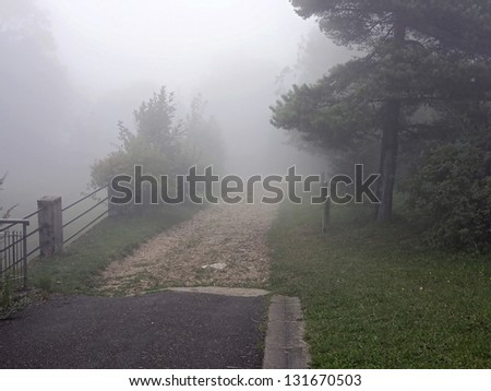 Foggy pathway on mountain Saleve - stock photo
