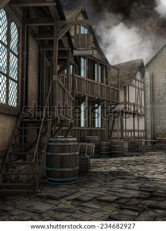 Foggy street in a fantasy medieval town - stock photo