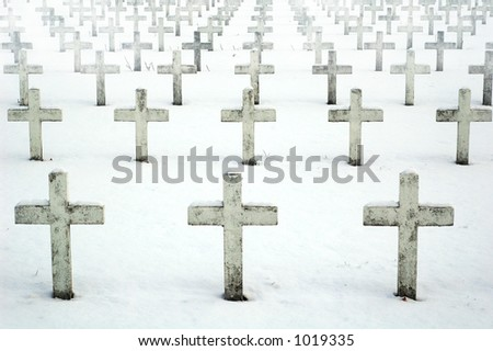 Foggy view of Military Cemetery in Villeurbanne (France) - stock photo