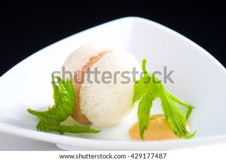 Foie gras macaroon/fine dining - stock photo