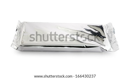 Foil bag closed isolated on white background - stock photo