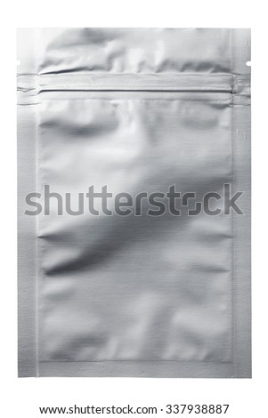 Foil food bag packaging with value and seal, Isolated on white. - stock photo