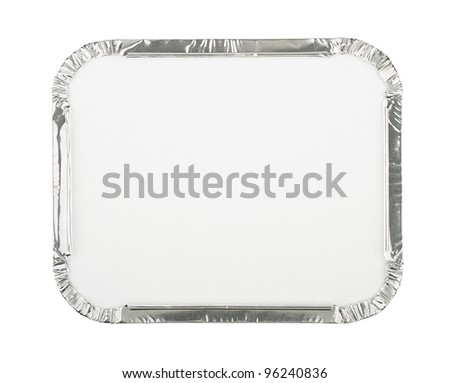 Foil Food Container Tray with Blank White Lid - stock photo