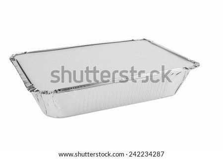 Foil trays for food on a white background - stock photo